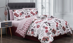 Geneva Home Fashion Autumn Print Comforter Sets with Sheets (8-Piece)