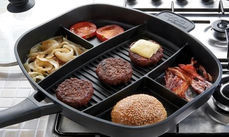 Sarténmulticocina con diferentes compartimentos de cocción con opción a tapa y base de inducción