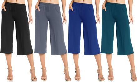 FACA Women's Elastic Waist Jersey Culotte Capri Pants with Pockets