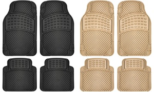 Universal-Fit Heavy-Duty Rubber Brick Car Floor Mats (Set of 4)