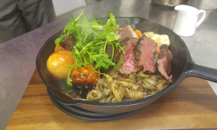 Chargrilled Rump Steak Meal to Share for Two or Four and Glass of Fizz Each at Carmelite Aberdeen