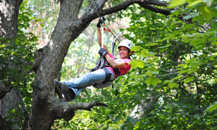 Skyward Adventures, Inc. - Brookville: Defy Gravity Zipline Tour and Haunted Woods for Two or Four at Skyward Adventures, Inc. (40% Off)