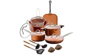 Nonstick Ceramic Cookware Set with Nylon Utensils (12- or 15-Piece)