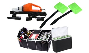Car Cleaning Kit - Mini Vacuum, Windshield Cleaners, & Trunk Organizer