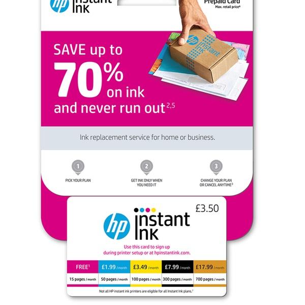 HP Instant Ink Enrolment Card