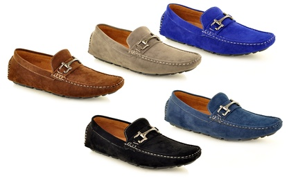 Men's FauxSuede Casual Loafers With Buckle