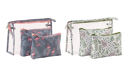Three-Piece Transparent Cosmetic Travel Bag Set in Various Patterns and Colours: One ($12.95) or Two ($24.95)