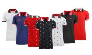 Men's Slim-Fit Short Sleeve Printed Polo Shirt