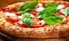Menu con pizza speciale e dolce