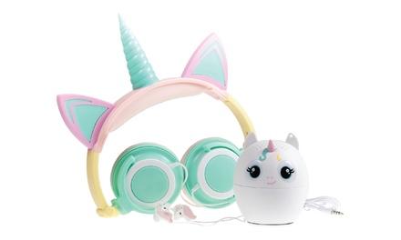 Gabba Goods Unicorn Rainbow Audio Gift Set with Headphones, Bluetooth Speaker, & Earbuds (3-piece)