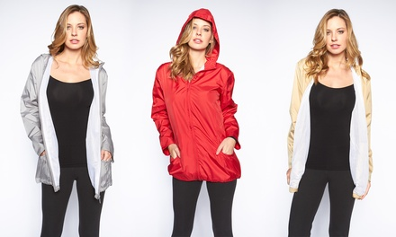 Women's Ruched-Trim Raincoat