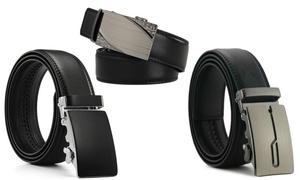 Mark Fred Men's Genuine Leather Automatic Ratchet Belt