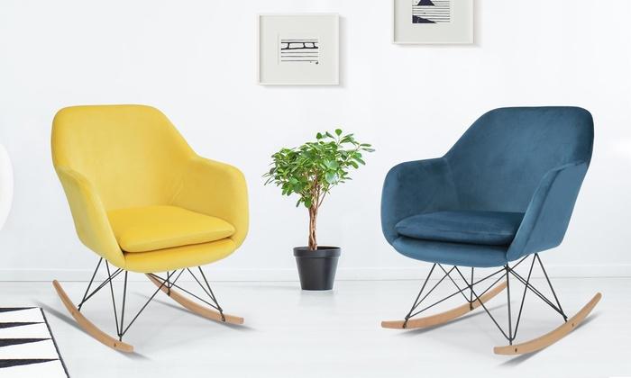 fauteuil velours bascule groupon. Black Bedroom Furniture Sets. Home Design Ideas
