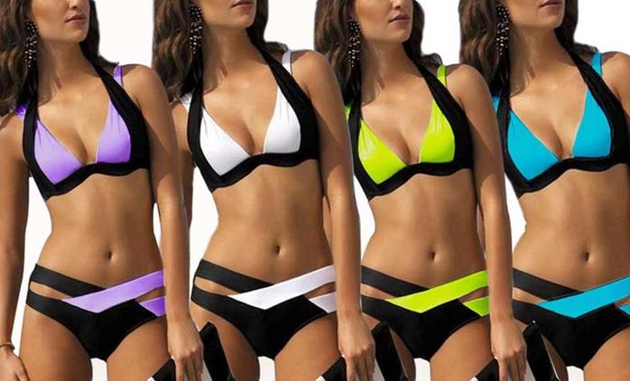 Bikini Léana bicolore, plusieurs tailles et coloris au choix à 19,99€ (43% de réduction)