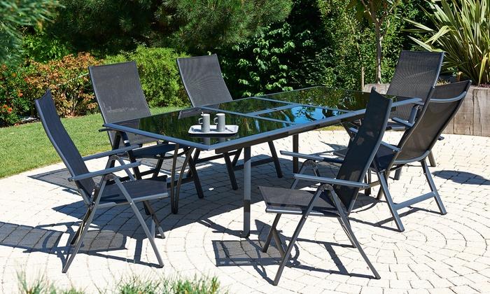 Ensemble table alu-verre rallonge papillon avec 4, 6 ou 8 chaises ou  fauteuils