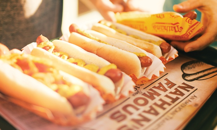 Nathan's Famous - Valley Stream: Hot Dogs, Fries, and More at Nathan's (40% Off). Three Options Available.