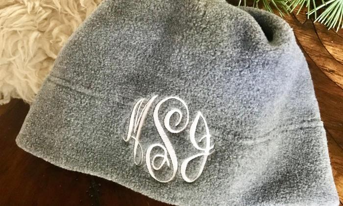 ... 86% Off Custom Monogram Fleece Winter Hats ... 31b2a9e44e1