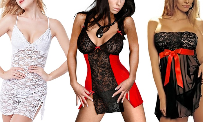 Women's Sensual Babydoll with Matching G-String and Eye Mask from £9.98