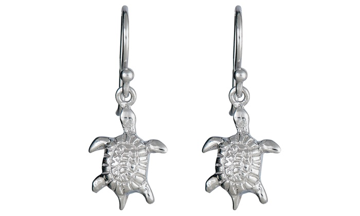 Rhodium Plated Sterling Silver Turtle Dangle Earrings: Rhodium Plated Sterling Silver Turtle Dangle Earrings