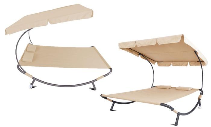 doppel gartenliege mit dach amazing mbm doppelliege heaven swing tobacco with doppel. Black Bedroom Furniture Sets. Home Design Ideas