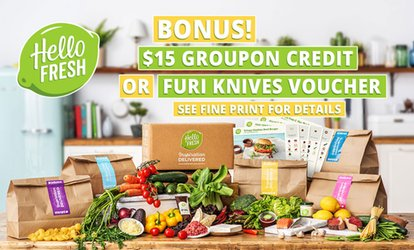 HelloFresh: Weekly Delivered Meal Plans from $29.90 + BONUS $15 Groupon Credit or FURI Voucher - New Customers Only