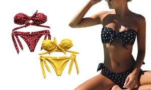 (Mode)  Bikini bandeau à pois -59% réduction