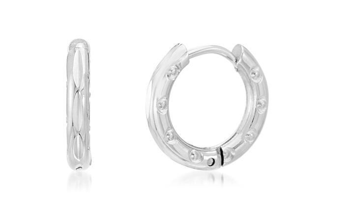 25bba604a923b Nina & Grace Diamond-Cut Huggie Hoop Earrings in Stainless Steel