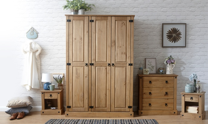 Three- or Four-Piece Corona Solid Pine Bedroom Set from £189.98