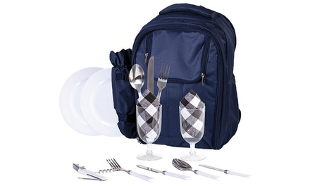 Insulated Picnic Shoulder or Backpack Bag with Cooler Compartment