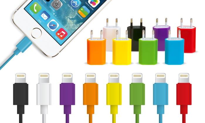 Groupon Goods Global GmbH: 1 ou 2 Câbles de chargement 1 à 3 m iPhone 5/5S/5C/SE/6/6S/6+/6S+/7/iPad avec prise murale en option