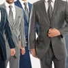 Men's Ultra Slim Fit Sharkskin Suit with Free Assorted Watch