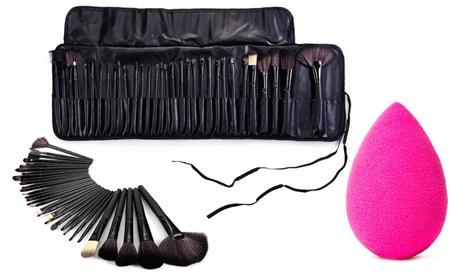 Set de 32 brochas de maquillaje con estuche y opción a esponja