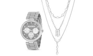 Steve Madden Women's Glitter Multifunction Watch & Necklace Set