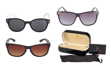 Damen-Sonnenbrille im Modell nach Wahl inkl. Brillenbeutel aus Mikrofaser mit goldenem Logoaufdruck in Schwarz (Stuttgart)