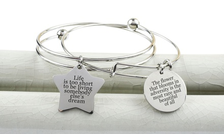 Pink Box Inspirational Star Double Layer Bangle with Gift Box