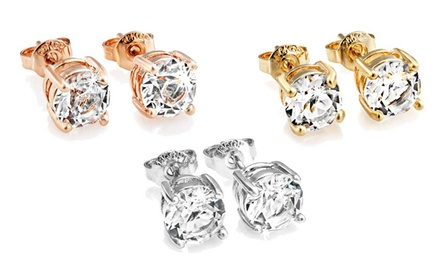 One, Two or Three Pairs of Philip Jones Stud Earrings with Crystals from Swarovski®