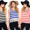 Women's Striped Tank Top With Crochet Lace Details