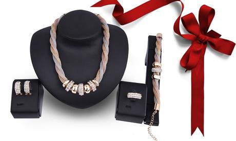 Collar, pulsera, anillo y pendientes con cristales de Swarovski®