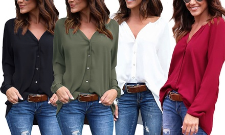 Lightweight V-Neck Chiffon Blouse