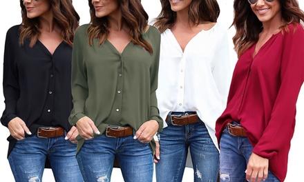 1x oder 2x Chiffon Bluse mit Rundhalsausschnitt und langen Ärmeln in der Farbe und Größe nach Wahl