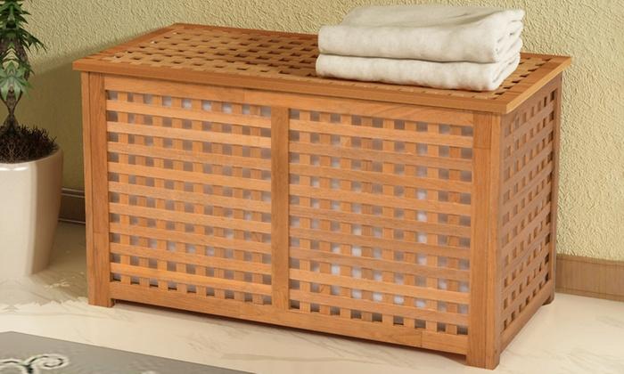 panier linge en bois de noyer groupon shopping. Black Bedroom Furniture Sets. Home Design Ideas
