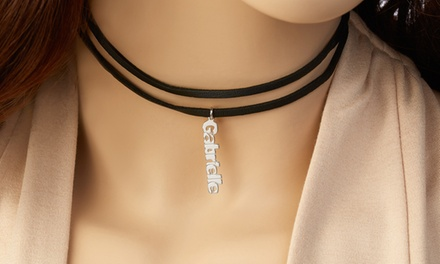 Black Layered Choker with Personalized Name from Monogram Online