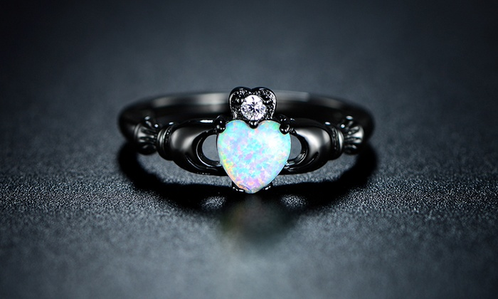 Women S White Opal Irish Claddagh Ring Groupon