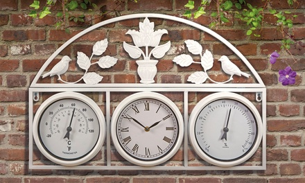 Garden Wall Clock and Weather Station in Choice of Colour with Optional Batteries