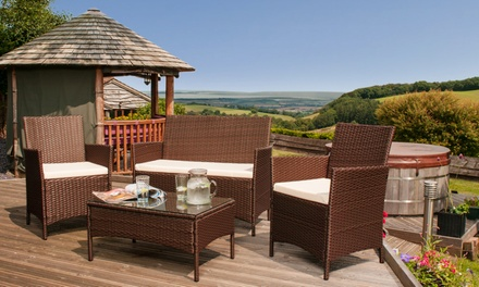 Roma PE Rattan Garden Furniture Set In Black For With Free Delivery