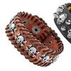 Men's Skull-Studded Adjustable Leather Bracelets