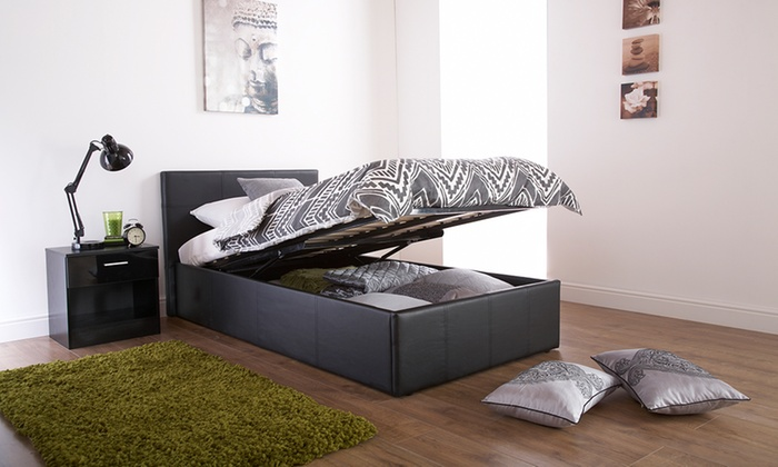 Enjoyable Ottoman Faux Leather Storage Bed Storage Ideas Lamtechconsult Wood Chair Design Ideas Lamtechconsultcom