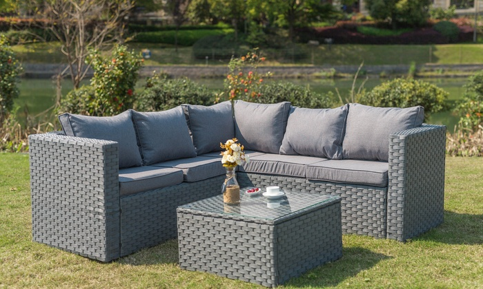 Yakoe Sicily Rattan-Effect Garden Furniture Set with Optional Cover (£379.99)