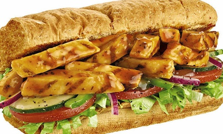 One or Two Footlongs, Cookies, and Fountain Drinks, Party Platter, or Two 6'' Subs at Subway