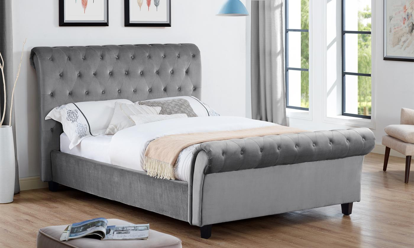 Essex Velvet Smoke Grey Sleigh Bed with Optional Orthopaedic Mattres